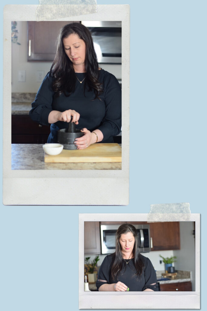 photo collage of working in the kitchen with light blue background