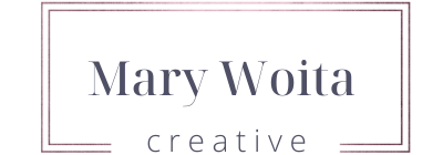 Mary Woita Creative logo in rose gold and navy font