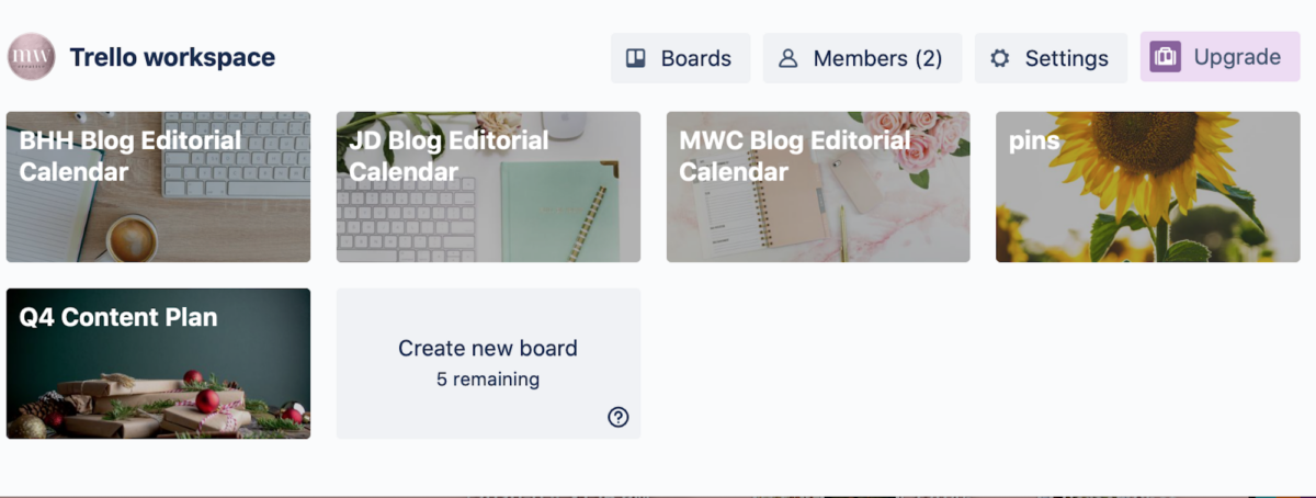 screen shot view of my Trello workspace with my editorial calendar boards
