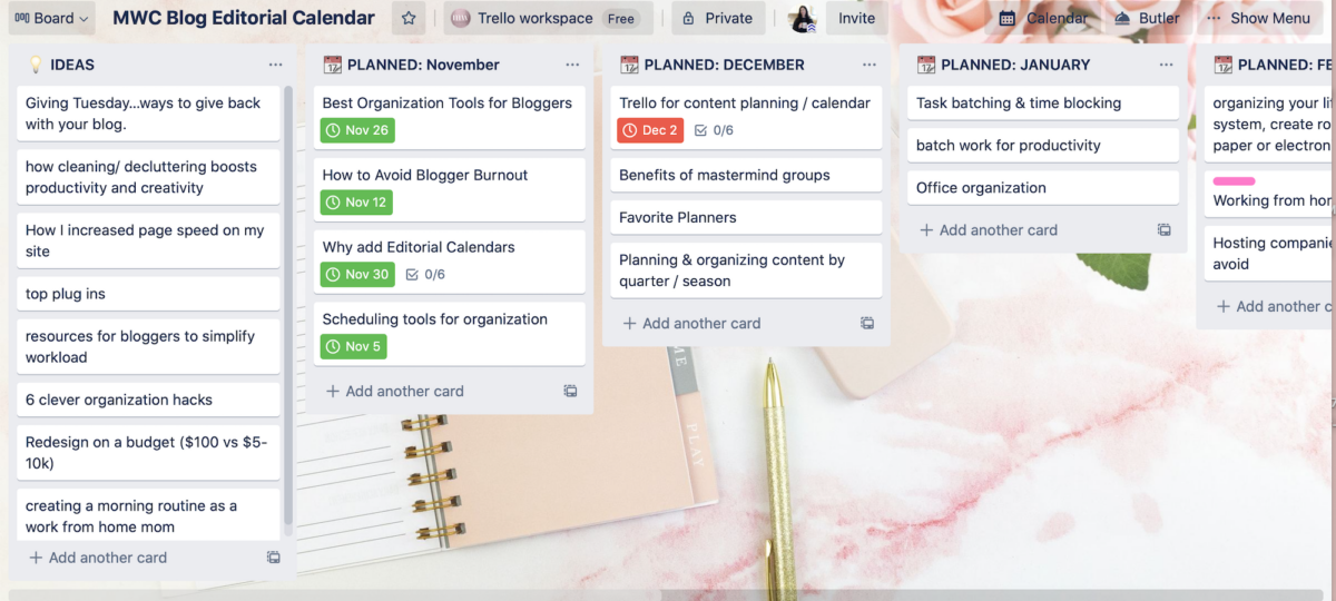 screen shot of the cards inside of one of my editorial calendars in Trello