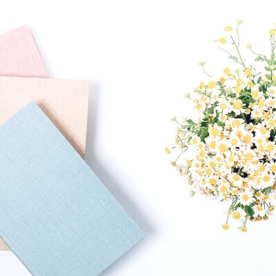 blue and pink journal on a white desk with white flowers in a vase