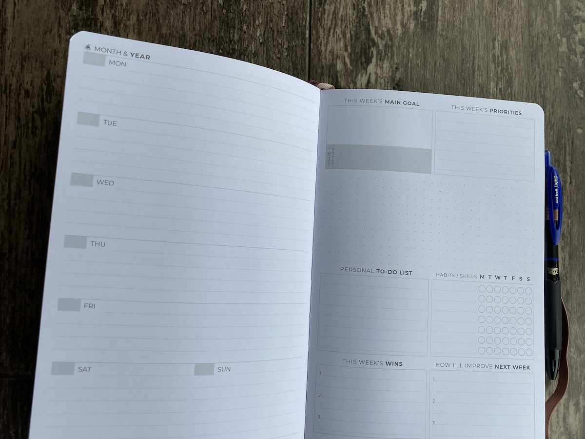 Weekly view of the Clever Fox planner