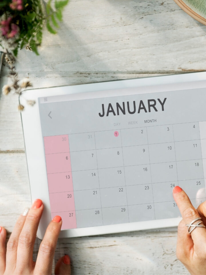 iPad with January monthly calendar